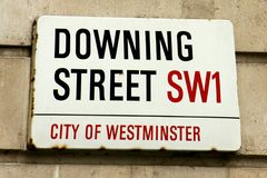 Downing Street. The Downing Street road sign in London royalty free stock photos