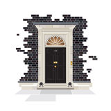 10 Downing Street Door. The exterior of Number 10 Downing Street. The official public residence of the UK Prime Minister since 1735. EPS10 vector format Stock Photos