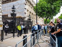Downing Street in London, hdr. LONDON, UK - JUNE 09, 2017: People waiting for Theresa May in front of 10 Downing Street on the day following the general Stock Image