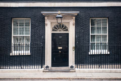 Entrance door of 10 Downing Street in London, UK
