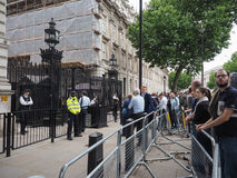 Downing Street in London. LONDON, UK - JUNE 09, 2017: People waiting for Theresa May in front of 10 Downing Street on the day following the general elections Stock Photo