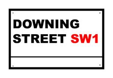 Downing street road sign. Isolated over white background, London, England Stock Photography