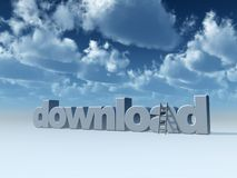 Download. The word download and a ladder under cloudy blue sky - 3d illustration Royalty Free Stock Images