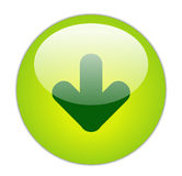 Download. Glassy Green Download Icon Button Royalty Free Stock Image