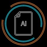 Download AI document icon - vector file format. Symbol. Thin line pictogram - outline stroke stock illustration