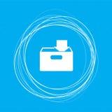 Download all'icona del hdd su un fondo blu con i cerchi astratti intorno ed il posto per il vostro testo Fotografia Stock