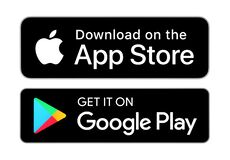 Download on the App Store and Get it on Google Play buttons