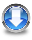 Download arrow icon glossy blue round button Stock Photography