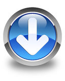 Download arrow icon glossy blue round button Stock Image