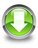 Download arrow icon glossy green round button Stock Photography