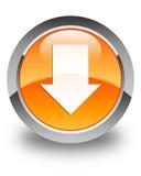 Download arrow icon glossy orange round button Stock Photos