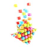 Download arrow icon made of colorful glossy cubes. Isolated on white background Stock Photos