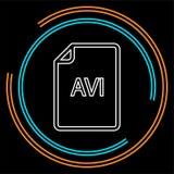 Download AVI document icon - vector file format. Symbol. Thin line pictogram - outline stroke stock illustration