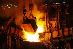 Download batch in the furnace of a metallurgical plant Stock Photo