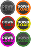 Download button. Six download buttons or icons. Grey, orange, red, yellow, purple and green Stock Photo