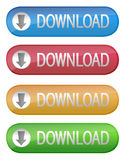 Download Button. Different color Download Buttons isolated over a white  background Royalty Free Stock Photos