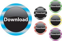 Download button blue. Download button upload web icon save symbol Stock Images