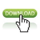 Download button with cursor hand. Illustration of pointer cursor on glossy download button Royalty Free Stock Photo
