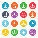 Download button icon set. Cute and fancy image for web users for computer data. Vector flat style illustration isolated on white background Royalty Free Stock Photo