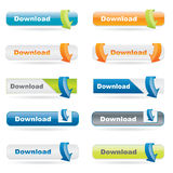 Download button set with arrows Stock Photography