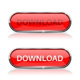 Download button. Shiny red oval web icon. Vector 3d illustration isolated on white background Royalty Free Stock Images