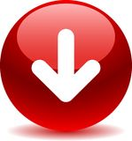 Download button web icon red. On white background - vector illustration Stock Photos