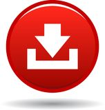 Download button web icon red. On white background - vector illustration Stock Photography