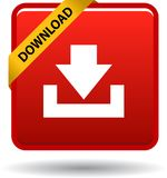 Download button web icon red. On white background - vector illustration Royalty Free Stock Images