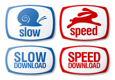 Download buttons. Slow and speed download buttons set Stock Photo
