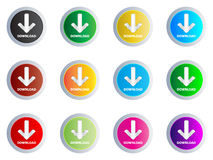 Download buttons. Different colors vector illustration Vector Illustration