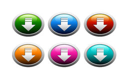 Download buttons. Arrows with a gray frame Royalty Free Stock Images