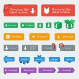 Download buttons / icons set in flat design style Royalty Free Stock Photo