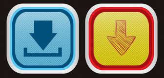 Download buttons, icons. Two vector icons/buttons in different color styles Royalty Free Stock Image