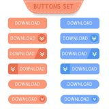 Download buttons set. Collection of web buttons. Vector illustration isolated on white background Royalty Free Stock Image