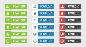 Download buttons set. In flat, vector illustration Royalty Free Stock Image