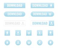 Download buttons set. In flat, vector illustration Royalty Free Stock Photo