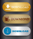 Download buttons. Set of stylish metallic vector buttons Download Royalty Free Stock Photos