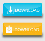 Download buttons. Set of stylish vector buttons Download. Blue and yellow Royalty Free Stock Photo
