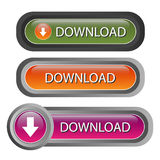 Download buttons - vector. Set of three glossy download buttons, useful for website, isolated on white.EPS file available Royalty Free Stock Photos