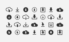 Download cloud drive icon set. Download simple flat style cloud drive icon set Royalty Free Stock Images