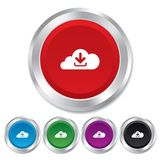 Download from cloud icon. Upload button. Royalty Free Stock Images