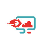 Download and cloud icon vector illustration. Download and cloud computing sign on pc laptop. Upload to cloud button. Web download flat icon Stock Photo