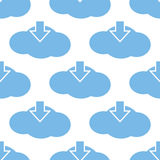 Download cloud seamless pattern. Download cloud white and blue seamless pattern for web design. Vector symbol Stock Images