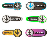 Download colorful buttons. Vector download buttons. Different design and neon styles Royalty Free Stock Photography