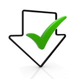 Download Complete. Symbol. Arrow with check mark. Part of a series Royalty Free Stock Photos