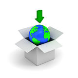 Download concept, earth globe in a white box. With green down arrow Royalty Free Stock Image