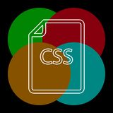 Download CSS document icon - vector file format. Symbol. Thin line pictogram - outline editable stroke royalty free illustration