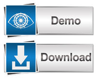 Download and Demo Buttons Blue. Set of Demo and Download buttons with related icons vector illustration