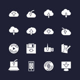 Download on different devices and upload in cloud icons. Data loading arrows signs Royalty Free Stock Photos