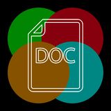 Download DOC document icon - vector file format. Symbol. Thin line pictogram - outline editable stroke royalty free illustration